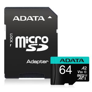 ADATA Premier Pro microSDXC UHS-I U3 A2 V30 Card 64GB + Adapter